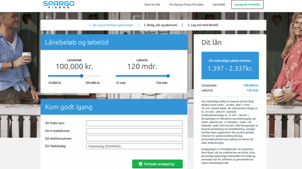 Anmeldelse af Spargo Finans   Man får et overblik over lånet og skal indtaste personlige oplysninger.
