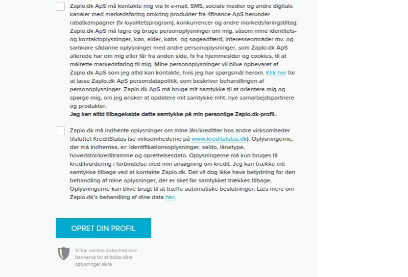 Anmeldelse af Zaplo | Man skal oprette en profil hos Zaplo.