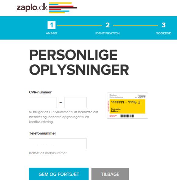 Anmeldelse af Zaplo | Man skal indtaste mobilnummer og CPR-nummer.