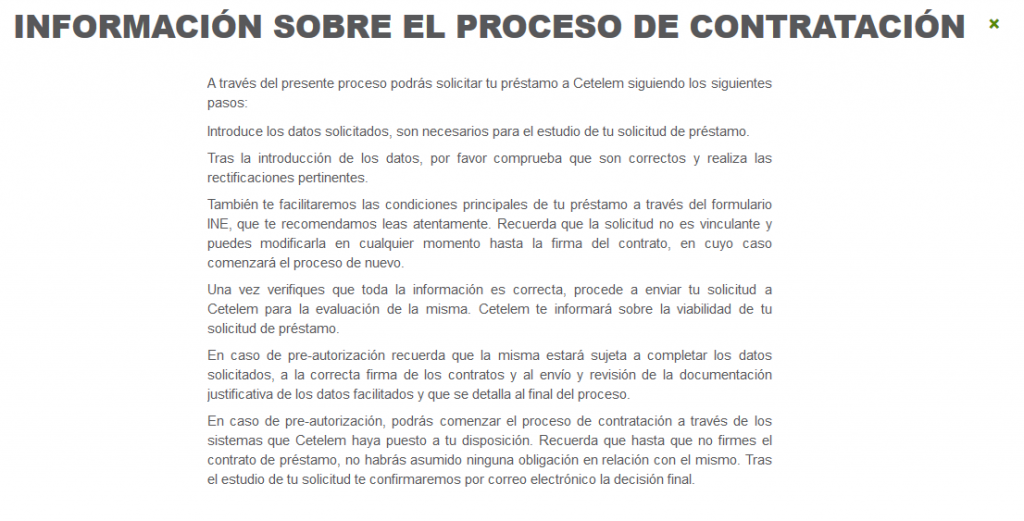 Información del contrato de Cetelem