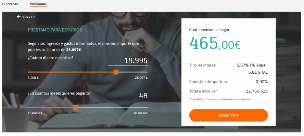 Simulador del préstamo de Bankinter