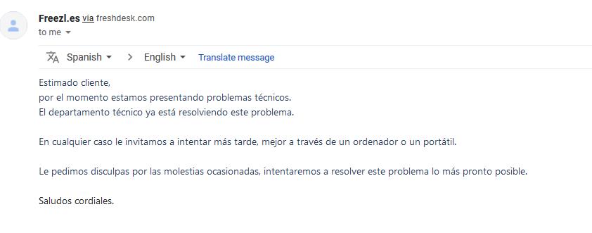 Respuesta del servicio de atención al cliente de Freezl